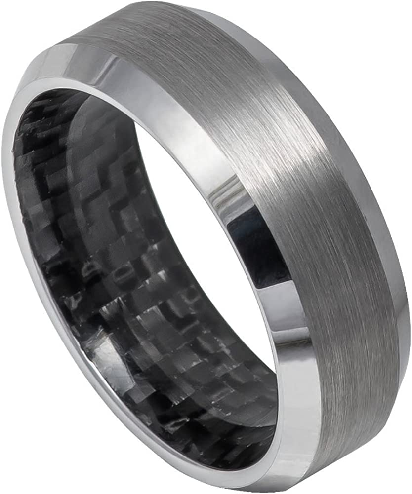 Titanium 8mm Black Ip-plated With Carbon Fiber Inlay Polished Band Box