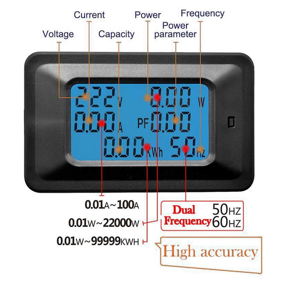 negro 100A AC LCD Panel digital Medidor de potencia en vatios Monitor Volt/ímetro Amper/ímetro Probador de corriente de voltaje para electrodom/ésticos