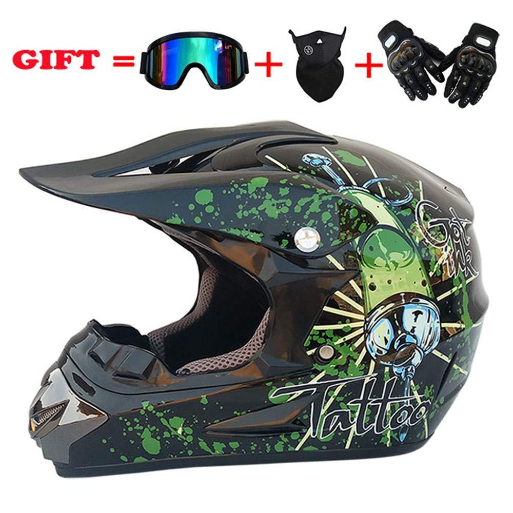 NOMEN Erwachsener Motocross Helm MX Motorradhelm ATV Scooter ATV Helm D.O.T Zertifizierter Rockstar Multicolor mit Brille Handschuhe Maske S, M, L, XL