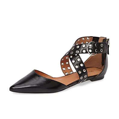 078ae23706a0 XYD Women Retro Cross Strap Studs Pointed Toe Sandal Flats Low Heel Buckle  Dress Shoes Size