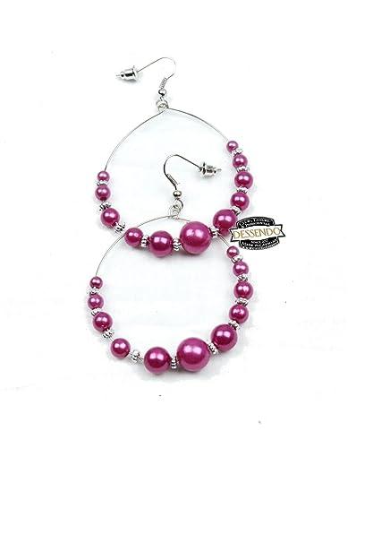 1b52e522c1cd99 Perlen Creole 45mm, mehrere Farben zur Wahl Farbe Violett  Amazon.de   Schmuck