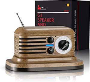 Retro Radio Bluetooth Speaker Portable FM Radio Vintage Style Wireless Pairing with 20Hour Long Playing Time Built-in Mic Handfree Call AUX-in Strong Bass Enhancement for Home Kitchen Office