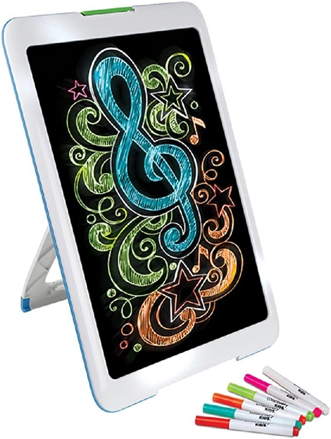 New Neon Glowing Art Drawing Easel Set Includes 6 Washable Markers 5 Different Bright Led Lights Modes