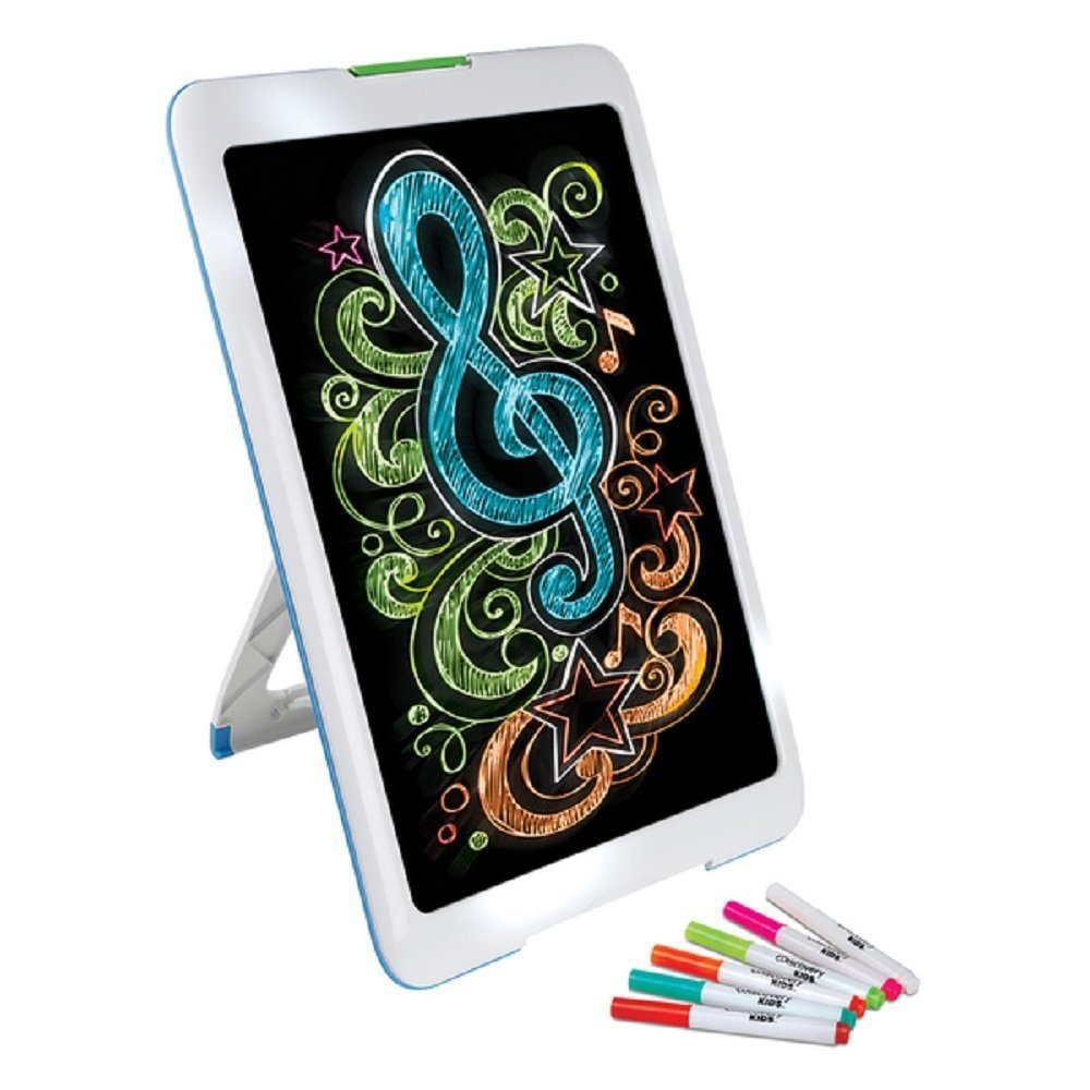 NEW! Neon Glowing Art Drawing Easel Set includes 6 Washable Markers (5 Different Bright LED Lights Modes) Discovery Kids