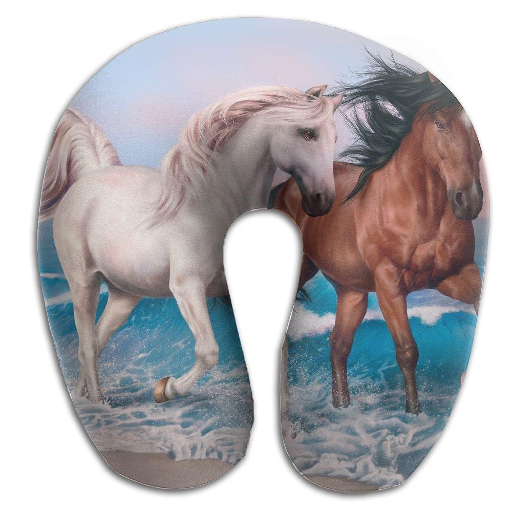 U-Shaped Pillow Neck Shoulder Body Care Horses Art Animal Health Soft U-Pillow For Home Travel Flight Unisex Supportive Sleeping