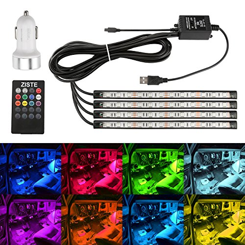 ZISTE 4-Pieces Multi Color LED Interior Underdash Lighting Kit,With Sound Active Function and Wireless Remote Control,Dual Smart USB Ports