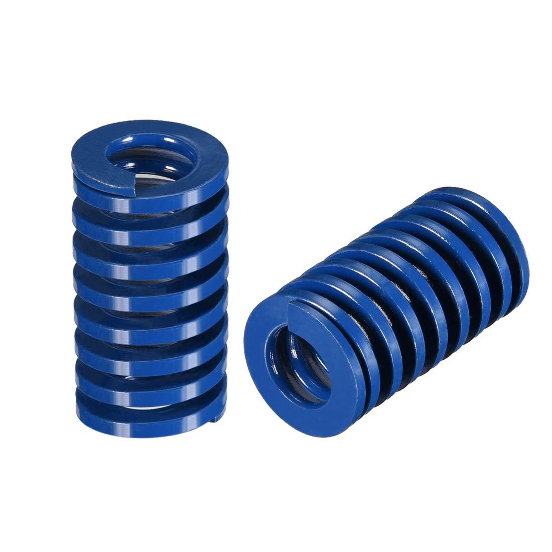 sourcing map 20mm OD 35mm Long Spiral Stamping Light Load Compression Mould Die Spring Blue 2Pcs