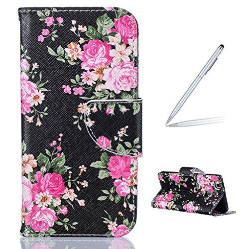 Trumpshop Smartphone Carcasa Funda Protección para Huawei P9 Lite + Linda Búho + PU Cuero Caja Protector Billetera con Cierre magnético Choque Absorción Rosas