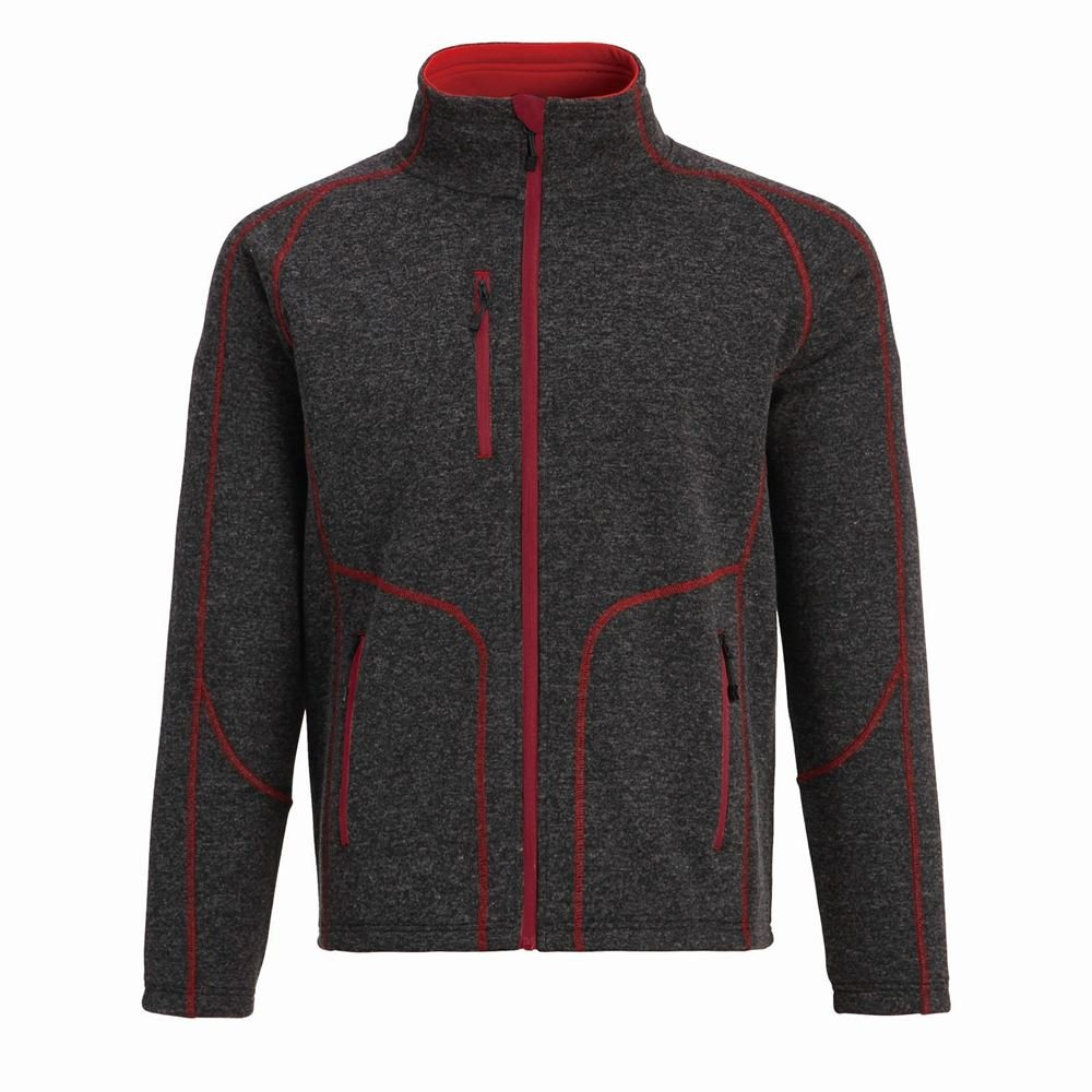 Red XXXX-Large Landway Men's Two Zippered Pockets Sweater Knit Fleece Jacket
