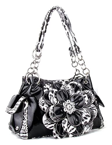 DH Cheetah Leopard Rhinestone Flower Purse (BLACK)  Handbags  Amazon.com c1c3683ab2676