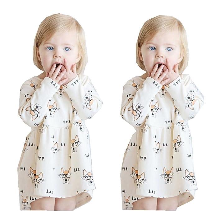 JIANGFU Kinder lange Ärmel kleiden Rock,Kleinkind Baby Kinder ...