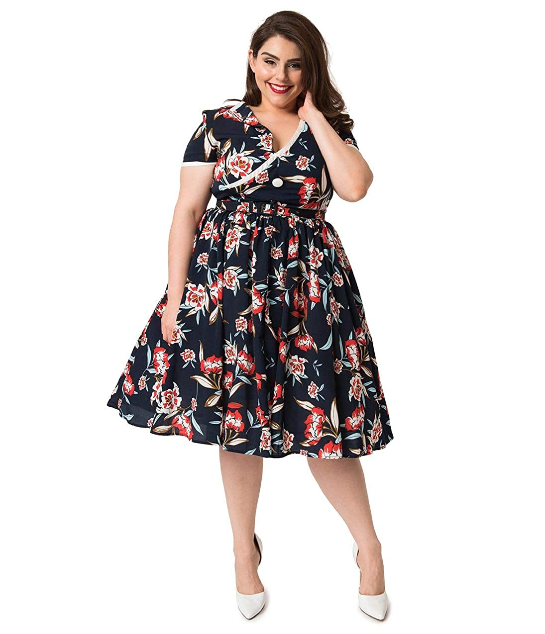 Unique Vintage Plus Size 1940s Navy & Red Floral Print Paige ...