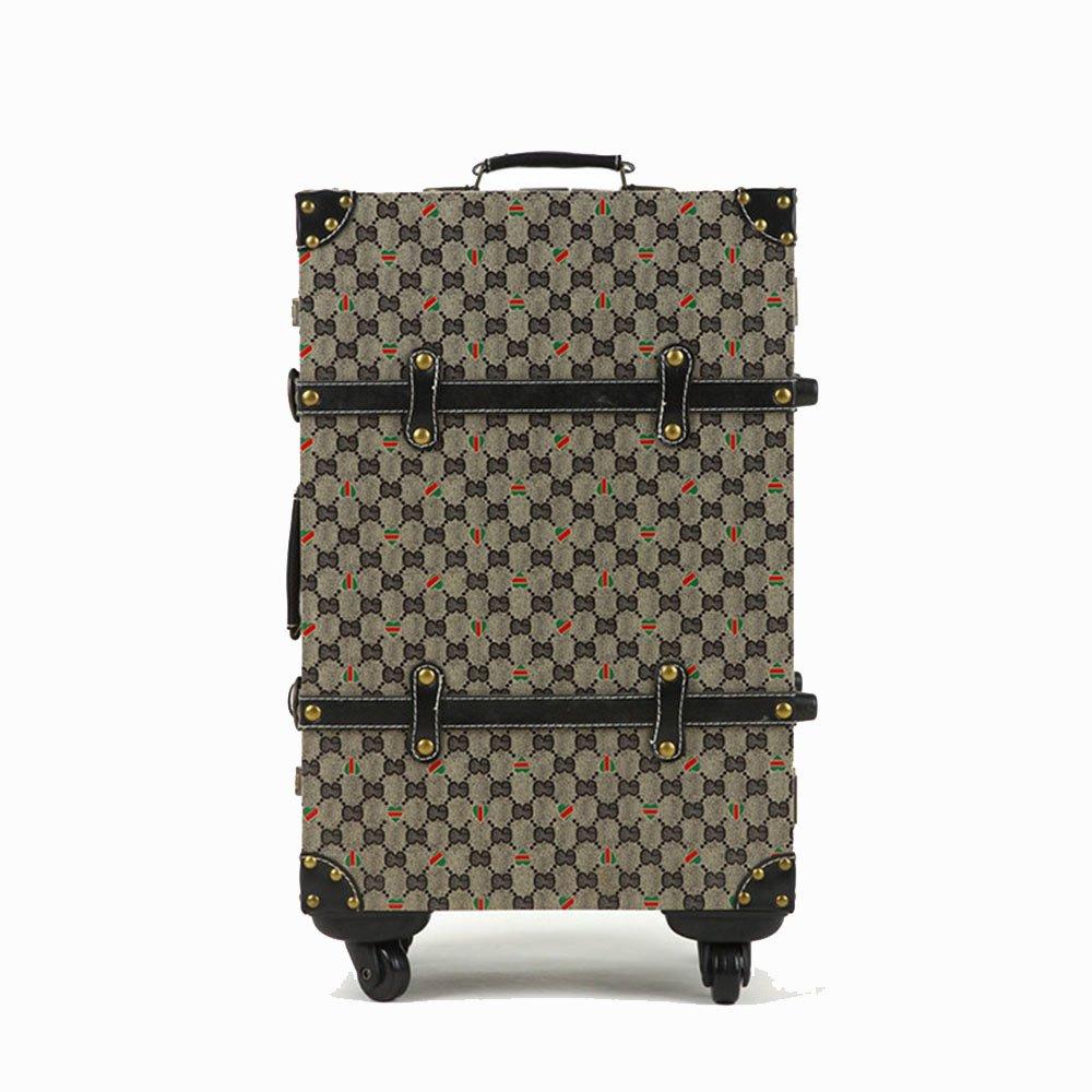 スーツケース 男性と女性のスーツケースユニバーサルキャスティングのためのヴィンテージ格子縞のトロリーケース 週末にスーツケースを運ぶ (サイズ : 24) B07STY6BF6