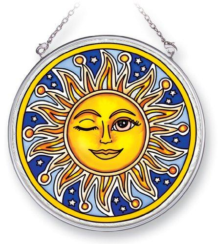 Amia Suncatcher Featuring a Celestial Design Celestial Wink, Hand Painted Glass, 4-1/2-Inch Circle (Celestial Suncatcher)