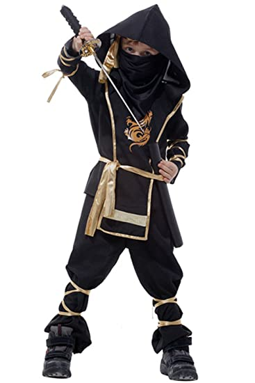 ZHONGJI Kids Halloween Party Dress Up Japanese Martial Arts Ninja Cosplay Costume Full Sets Suit