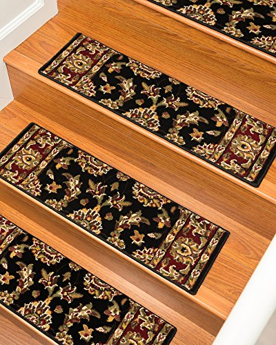 NaturalAreaRugs Sydney Carpet Stair Treads  Rug (Set of 13), 9 x 29'', Black by NaturalAreaRugs