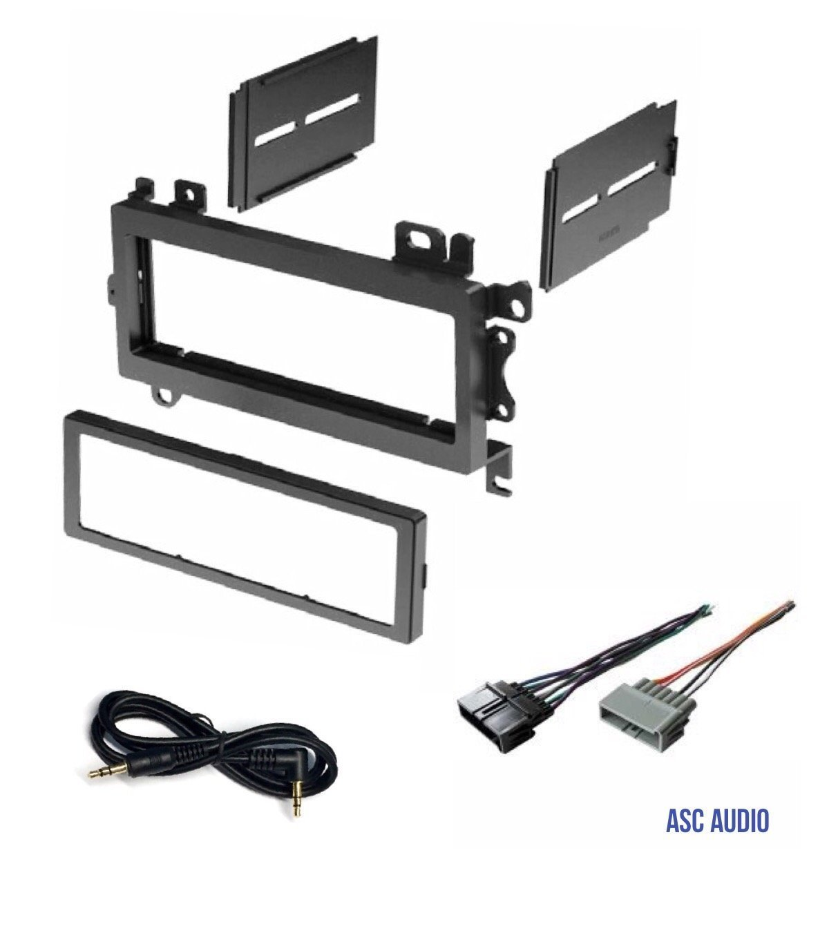 ASC Car Stereo Dash Install Mount Kit and Wire Harness Combo to install a Single Din Aftermarket Radio for some 1984-2002 Chrysler Dodge Jeep Plymouth Vehicles