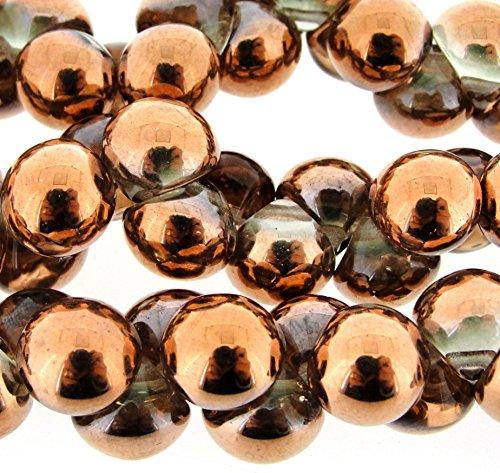 Czech Glass Mushroom Beads Button/drop-shaped 9x8mm Crystal Gold Capri 30bds/st