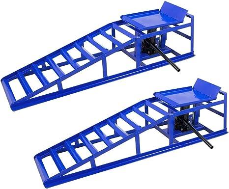 2 Stück Auffahrrampe Mit Hydraulischem Wagenheber 2000kg Laderampe Höhenverstellbar Reifenbreite Bis 225mm Für Pkw Und Kleintransporter Baumarkt