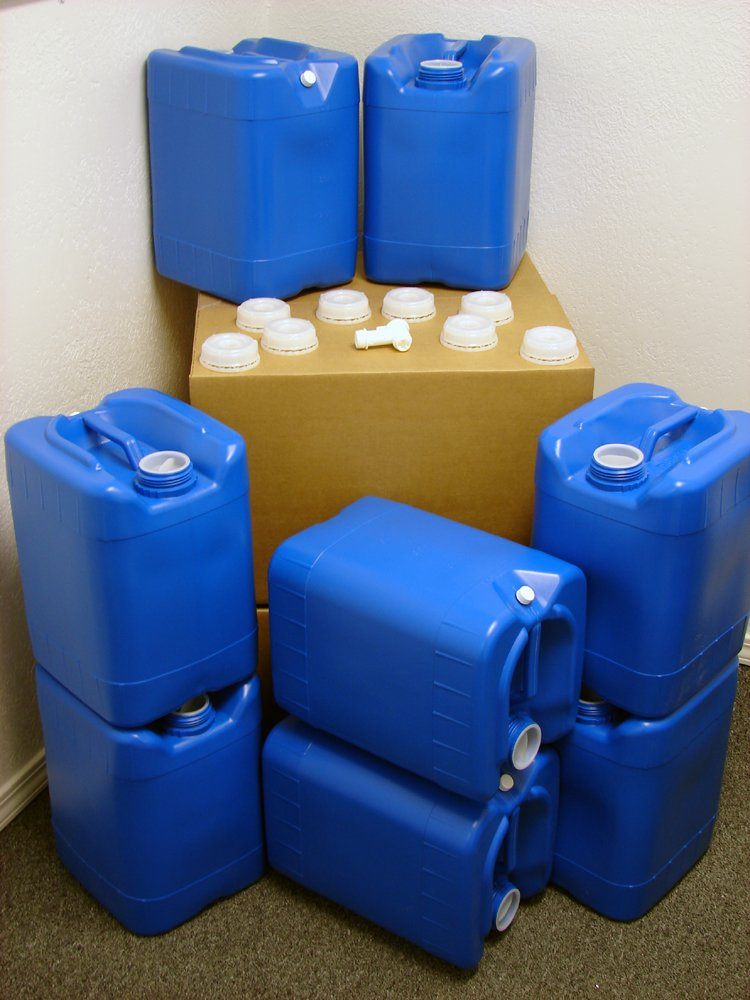 5 Gallon Samson Stackers, Blue, 8 Pack (40 Gallons), Emergency Water Storage Kit - New! - Boxed! Includes 1 Spigot and Cap Wrench by API Kirk Containers