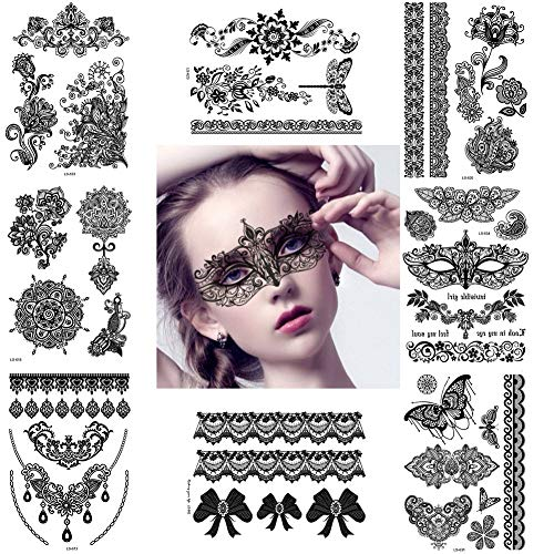Large Black Temporary Tattoos Fake Henna Inspired Body