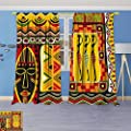 Philiphome 2 Panel Set Digital Printed Window Curtains, African Elements Decorative Historical Original Striped and Rectangle Shapes Artsy Work for Bedroom Living Room Dining Room