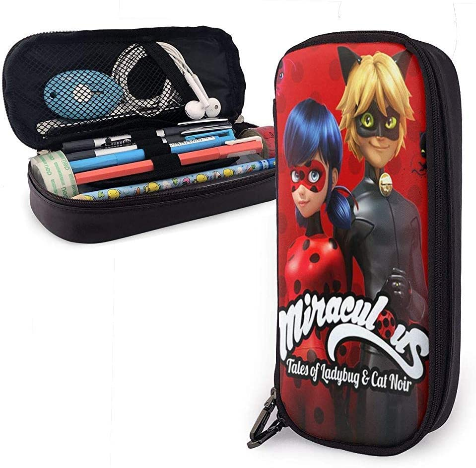 Tales Ladybug Cat Noir Estuche de cuero para lápices Caja de papelería de gran capacidad Bolsa de maquillaje de viaje Bolsa: Amazon.es: Oficina y papelería