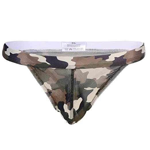 4f74ee6cc0d6 Image Unavailable. Image not available for. Color: IWEMEK Men's Sexy Soft  Low Rise Bikini G-String Underwear Leopard Print Breathable Thongs Briefs