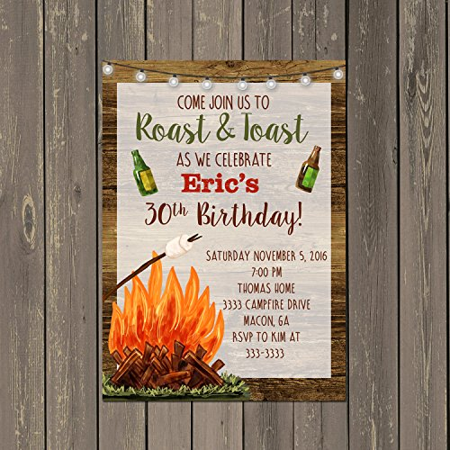 Backyard Bonfire Invitation, Adult Birthday Party Invitation Roast and Toast, Set of 10 with envelopes]()