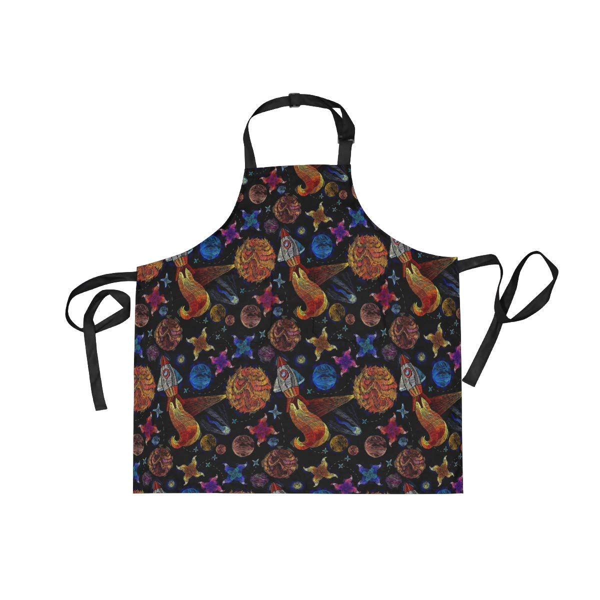 DOPKEEP Solar Galaxy Space Bib Apron Adjustable Size Kitchen Apron with Pockets and Extra Long Ties for Women and Men Home Chefs Cooking Gardening BBQ