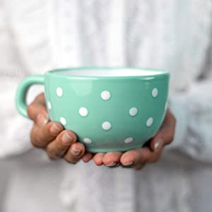 Handmade Ceramic Designer Teal Blue and White Polka Dot Cup, Unique Extra Large 17.5oz/500ml Pottery Cappuccino, Coffee, Tea, Soup Mug   Housewarming Gift for Tea Lovers by City to Cottage