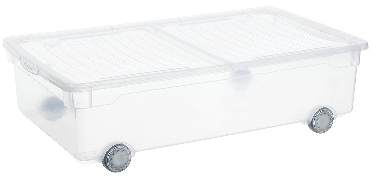 Rotho Aufbewahrungsbox Clear Box Slido 30 L 2-teiligem Deckel und Rollen - QR-Code AppMyBox - 30 L. Volumen - (LxBxH) 70.5x40x19.5 cm - transparent - stapelbar - Kunststoff/Plastik (PP) - Div. Größen Rotho Kunststoff AG 1422300096