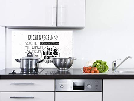 GRAZDesign Fliesenspiegel Küche Küchenspruch - Glasrückwand Küche ...