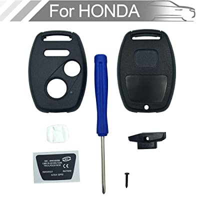 NEW Key Fob Shell Case Fit for Honda CR-V Odyssey Accord Crosstour Civic CR-Z Fit Keyless Entry Remote Key Housing Replacement with Screwdriver (2+1Button 1pcs): Automotive