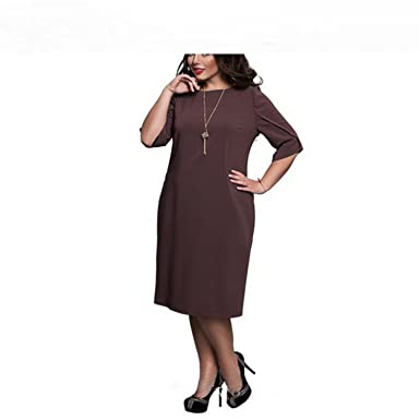082ce6f9958 Baqijian 6XL Large Size Summer Dress Big Size Casual Office Dress Blue Red  Green Straight Dresses Plus Size Womens at Amazon Women s Clothing store