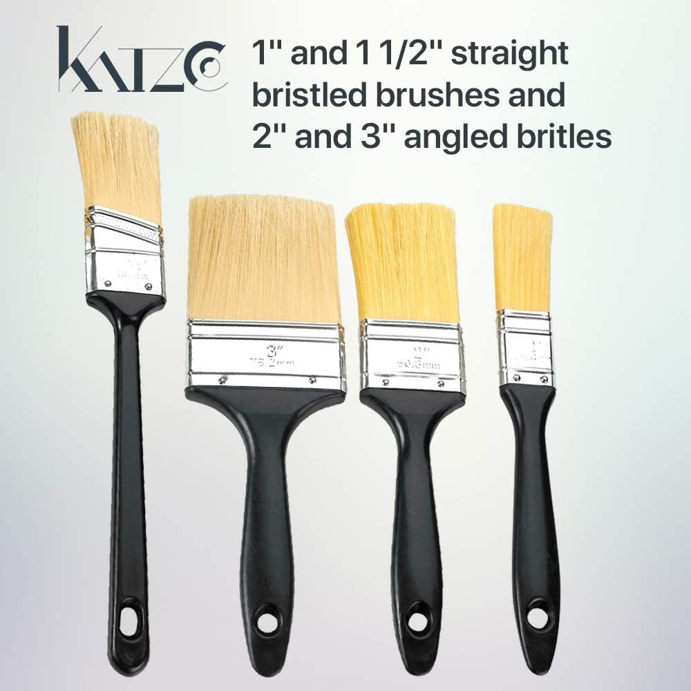 Watercolor Arts and Crafts Oil Stain Use for Professional and Amateur Projects for Any Professional Paint Job Katzco 4 Pack Polyester Bristle Paint Brush Value Set with Contoured Handles