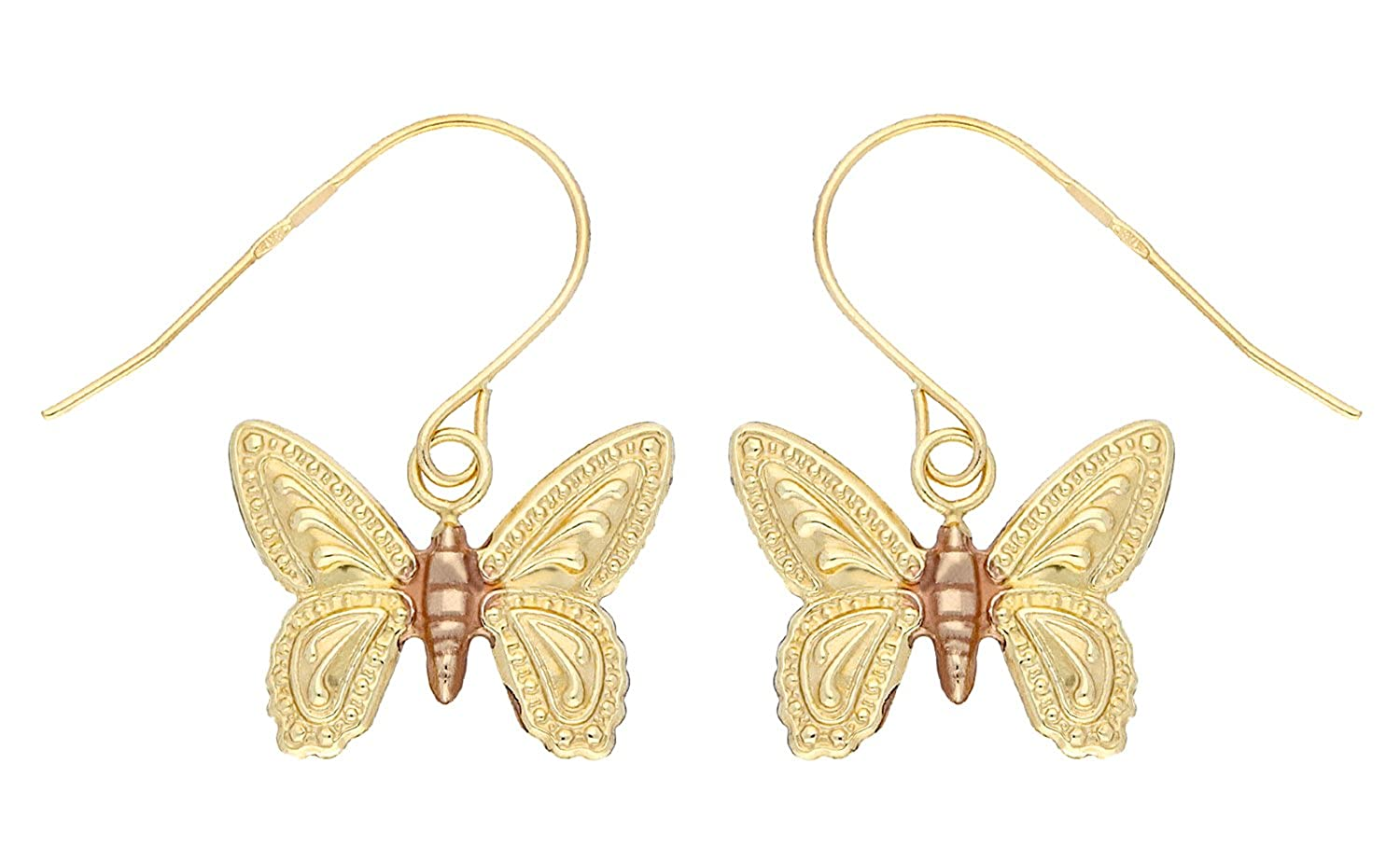 Adara 9 ct Yellow/Red/White Gold Diamond Cut Butterfly Drop Earrings hPUetZ8