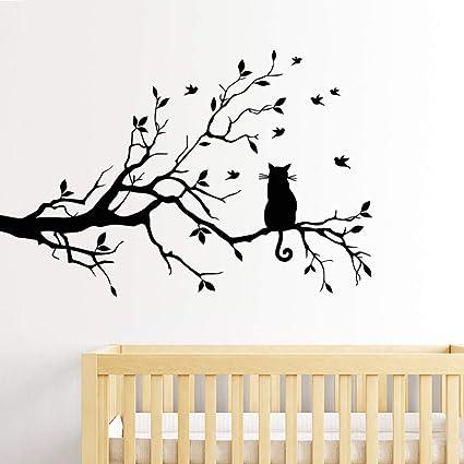 Foto Sticker Muur.Amazon Com Sitting In A Tree Lonely Cat Vogels Vinyl Muur
