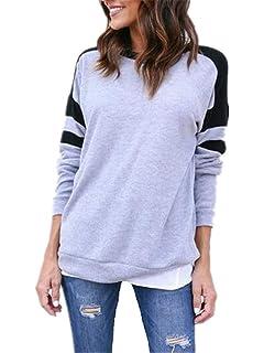 46df8773b9 Lounayy Ladies Jumper Sweatshirts Pullover Pulli Casual Patchwork Locker T  Shirt College Round Neck Sweatshirt Long Sleeve…