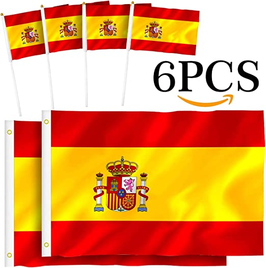 Th-some Bandera de España - 2 Pcs Bandera España Grande, 4 Pcs ...