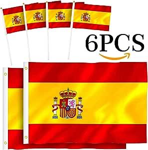 Th-some Bandera de España - 2 Pcs Bandera España Grande, 4 Pcs Bandera España Pequeña, Resistente a la Intemperie (2Pcs 90 x 150 cm + 4Pcs 14 X 21cm) JAANY: Amazon.es: Hogar
