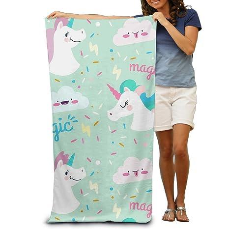 Lindo unicornios toallas de baño suave lavable a máquina fácil cuidado piscina toalla de secado rápido