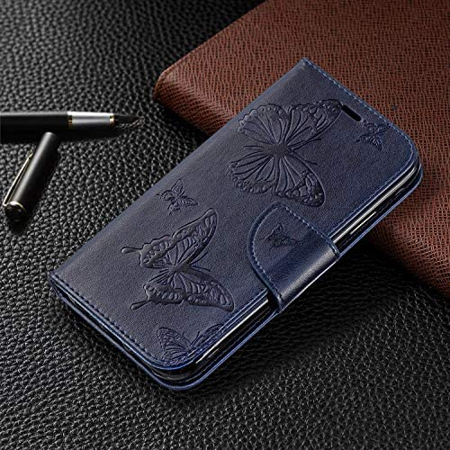 Wallet Brieftasche für iPhone XS Max,Gurt Leder Handyhülle für iPhone XS Max,Moiky Ziemlich Jahrgang Rose Gold Schmetterling Geprägt Klappbar Stoßdämpfende Stand Handytasche