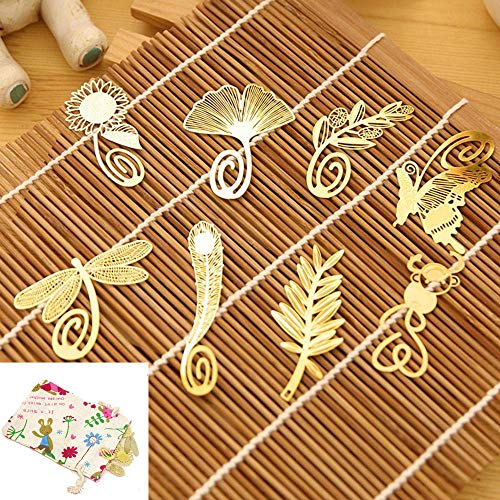 yueton Pack of 8 Cute Cartoon Art Feather Butterfly Dragonfly Gingkgo Monkey Pred Perry Sunflower Olive Branch Metal Gold Bookmarks Book Mark Reading New Novelty + Free Gift