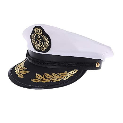 Haptian Sombrero de Marinero, Color Blanco, para Adultos, para ...