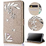 Sycode Galaxy A8 2018 Wallet Case,Galaxy A8 2018 Glitter Flip Case,3D DIY Handmade Shiny Bling Sparkle Diamond Rhinestone Pattern Gold Pu Leather Soft Inner Folio Magnetic Closure Bookstyle Card Slots Pouch with Strass and Stand Function Luxury Fashinable Elegant Protective Wallet Case Cover for Samsung Galaxy A8 2018-Flower Butterfly,Gold