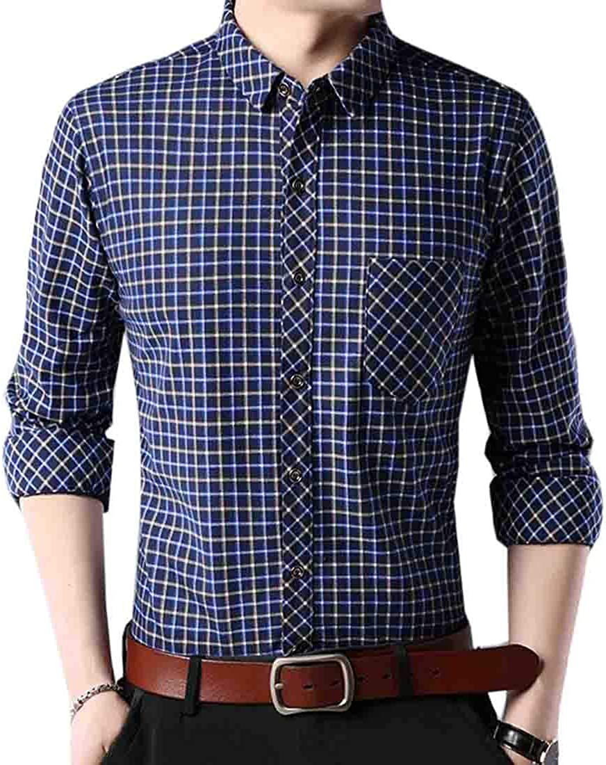 S-Fly Mens Winter Warm Fleece Lined Long Sleeve Button Up Plaid Check Casual Shirt