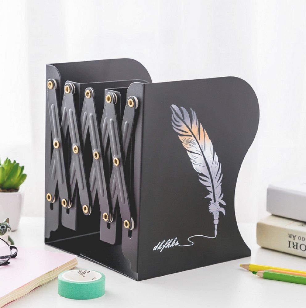 Sujetalibros de metal decorativo dise/ño moderno y ajustable antideslizante sujetalibros de arte color Black ZYMY Purple