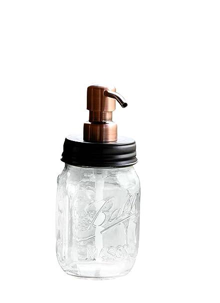 Tarro de bola, dispensador de jabón con bomba de metal de cobre y
