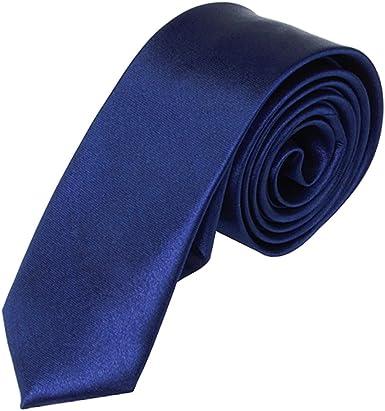 Corbata Unisex Informal Flaco Corbata Estrecha Solido Azul Marino ...
